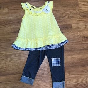 NWOT yellow flower outfit